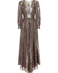 LoveShackFancy Cyrena Metallic Silk Maxi Dress - Green