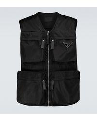 Prada Chaleco Re-Nylon con bolsillos - Negro
