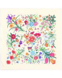 Gucci Flora Silk-satin Scarf - Natural