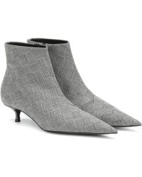 Balenciaga Knife Checked Wool Ankle Boots - Grey