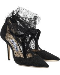 Jimmy Choo Fira 100 Velvet-trimmed Suede And Flocked Tulle Pumps - Black