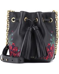 Polo Ralph Lauren | Embroidered Leather Bucket Bag | Lyst