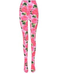 Richard Quinn Floral Velvet Tights - Pink