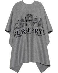 Burberry Poncho en cachemire brodé - Gris