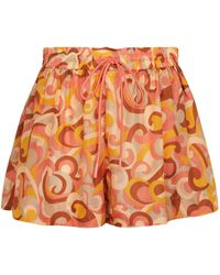 Zimmermann Shorts Mae de seda estampados - Naranja