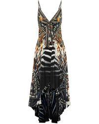 Camilla Vestido largo de seda estampado - Negro