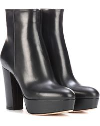 Gianvito Rossi Temple leather platform ankle boots - Negro