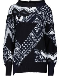 Sacai - Pullover patchwork in misto cotone - Lyst
