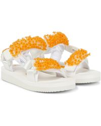 Cecilie Bahnsen X Suicoke Maria Hand-embroidered Sandals - White