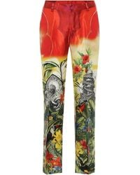 F.R.S For Restless Sleepers Tartaro Printed Silk Pajama Pants - Red