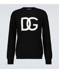Dolce & Gabbana Sweat-shirt en laine à logo - Noir
