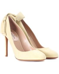 Valentino Pretty Bow Suede Court Shoes - Natural
