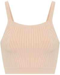 Live The Process Ribbed-knit Crop Top - Natural