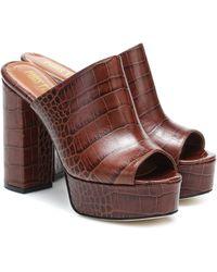 Paris Texas Croc-effect Leather Platform Sandals - Brown