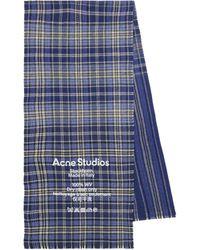 Acne Studios Karierter Schal aus Wolle - Blau