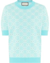 Gucci Pull GG en jacquard de laine et coton - Bleu