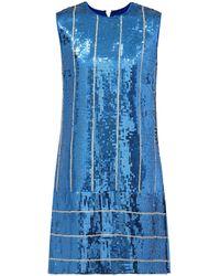 Victoria, Victoria Beckham - Vestido recto a rayas con lentejuelas - Lyst