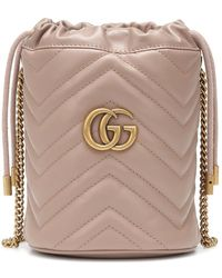 Gucci GG Marmont Leather Bucket Bag - Natural