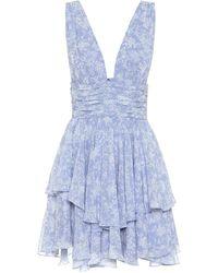 Caroline Constas Vestido corto Paros floral - Azul