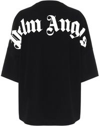 Palm Angels Logo Oversized Cotton T-shirt - Black