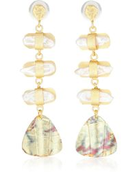 Peet Dullaert - Vergoldete Ohrringe Aroda mit Perlen - Lyst