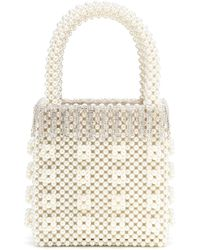 Shrimps Diamante Pearl Bag - White