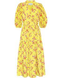 Les Rêveries Exclusive To Mytheresa – Floral Cotton Poplin Midi Dress - Yellow