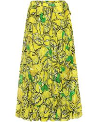 Diane von Furstenberg Clarissa Lemon-print Wrap Cotton-blend Skirt - Green