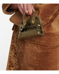 Balenciaga Schultertasche Ville Mini aus Lackleder - Mettallic