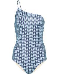 Valentino Exclusivo en Mytheresa - bañador de un solo hombro estampado - Azul