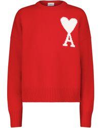 AMI Exclusivo en Mytheresa – Jersey Ami de Cœur de lana - Rojo