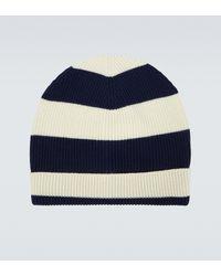 Barena Striped Wool Ribbed Beanie - Blue