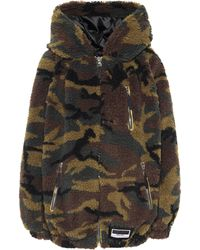 Miu Miu Camo Fleece Zip-up Hoodie - Green
