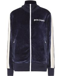 Palm Angels Logo Velour Track Jacket - Blue