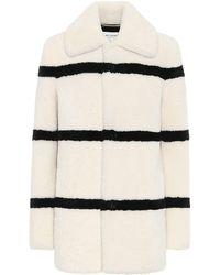 Saint Laurent Striped Shearling Pea Coat - Black