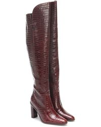 Max Mara Beboot Croc-effect Leather Boots - Red