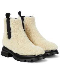 Alexander McQueen Ankle Boots aus Shearling - Weiß