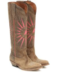 Golden Goose Wish Star Suede Cowboy Boots - Brown