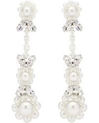 Simone Rocha Embellished Drop Earrings - White
