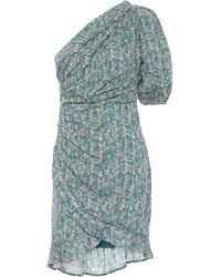 Étoile Isabel Marant Esthera Floral Cotton One-shoulder Minidress - Blue
