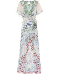 Camilla Vestido de seda floral asimétrico - Neutro