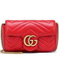 Gucci - Gg Marmont Matelasse Leather Mini Chain Shoulder Bag - Lyst