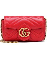 Gucci Kleine GG Marmont Schultertasche - Rot