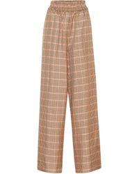 Golden Goose Pantalones de corte ancho a cuadros - Marrón