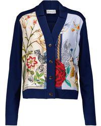 Ferragamo - Cárdigan de lana y seda floral - Lyst