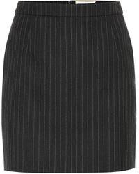 Saint Laurent Pin-striped Wool Skirt - Black
