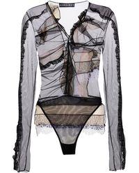 Y. Project Lace-trimmed Mesh Bodysuit - Black