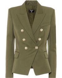 Balmain Blazer en laine à double boutonnage - Vert