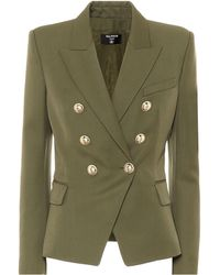 Balmain Double-breasted Wool Blazer - Green