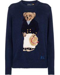 Polo Ralph Lauren Jersey Nautical Polo Bear de algodón y lino - Azul